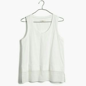 Madewell gauze layer tank in grid weave